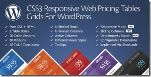 wordpress强大的价格表插件CSS3 Responsive Web Pricing Tables Grids For WordPress v9.0附汉化版