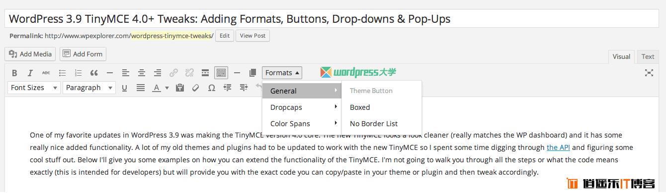 WordPress 3.9+ TinyMCE 4 增强:添加样式、按钮、字体、下拉菜单和弹出式窗口