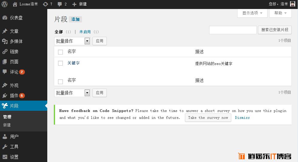 Code Snippets wordpress代码片段管理器插件汉化版