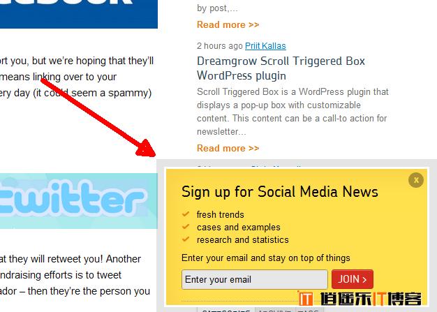 WordPress 添加漂亮的可定制悬浮信息框/订阅框/公告框插件Dreamgrow Scroll Triggered Box