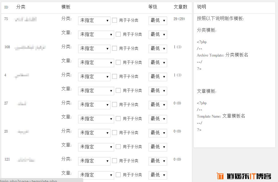 WordPress 分类及分类下的文章添加模板选择功能