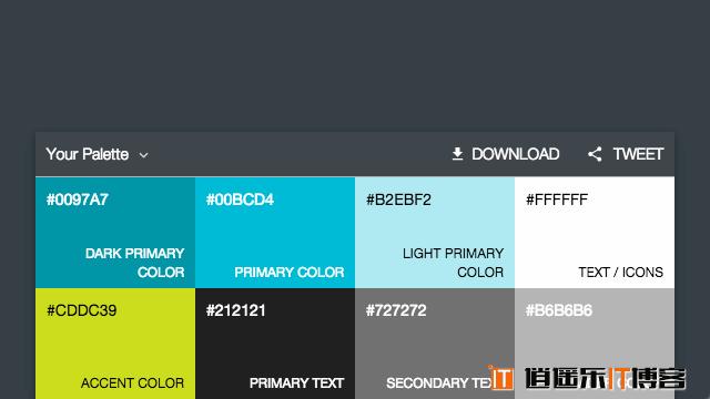 选择你喜爱的颜色,在线生成Google  Material Design 风格配色建议