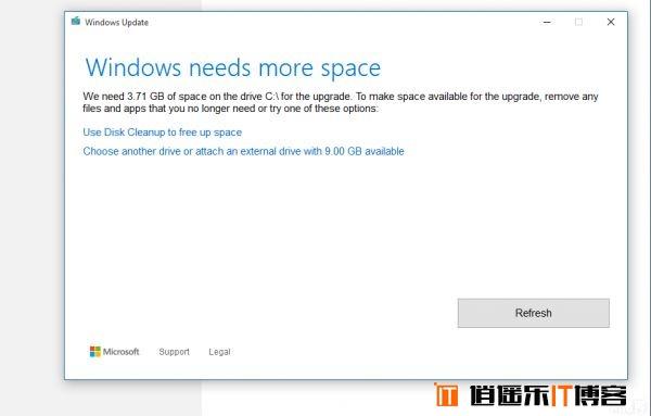 win10系统update升级C盘容量低不足怎么办