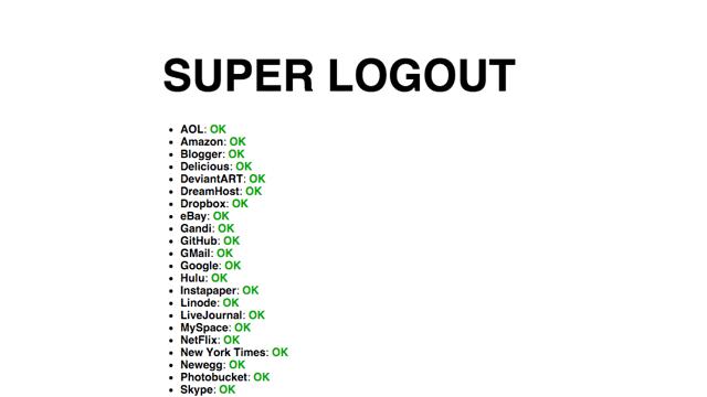 Super Logout 帮你一键快速登出常用网路服务帐号,确保你的安全隐私无虞