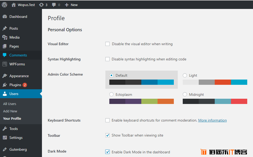 WordPress后台仪表盘黑色夜间模式主题插件下载